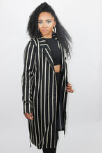 Load image into Gallery viewer, Black Ivory Stripes Kimono