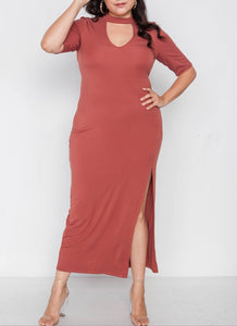 Plus Size Rust Slit Mock Neck Maxi Dress