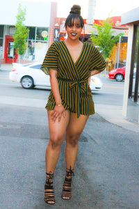 Green Mustard Stripes Playsuit