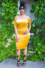 Load image into Gallery viewer, Gold Off Shoulder Velvet Dress