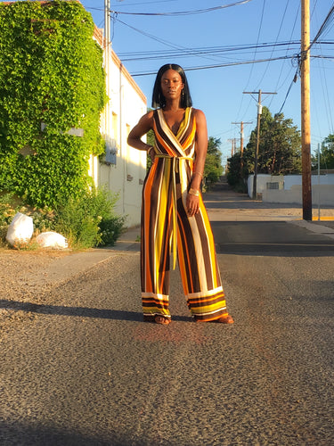 Multi Color Stripe Wide Leg Jumpsuit
