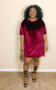Plus Red Velvet T-shirt Dress