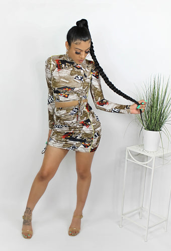 For The Streets Ruched 2 Piece Set