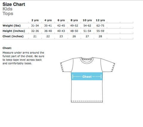 Kids Tops Size Chart