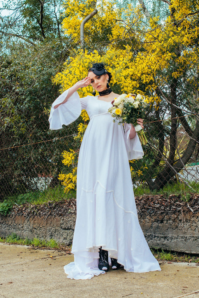 Valentina- Dramatic 1970s Full Length Bridal Gown