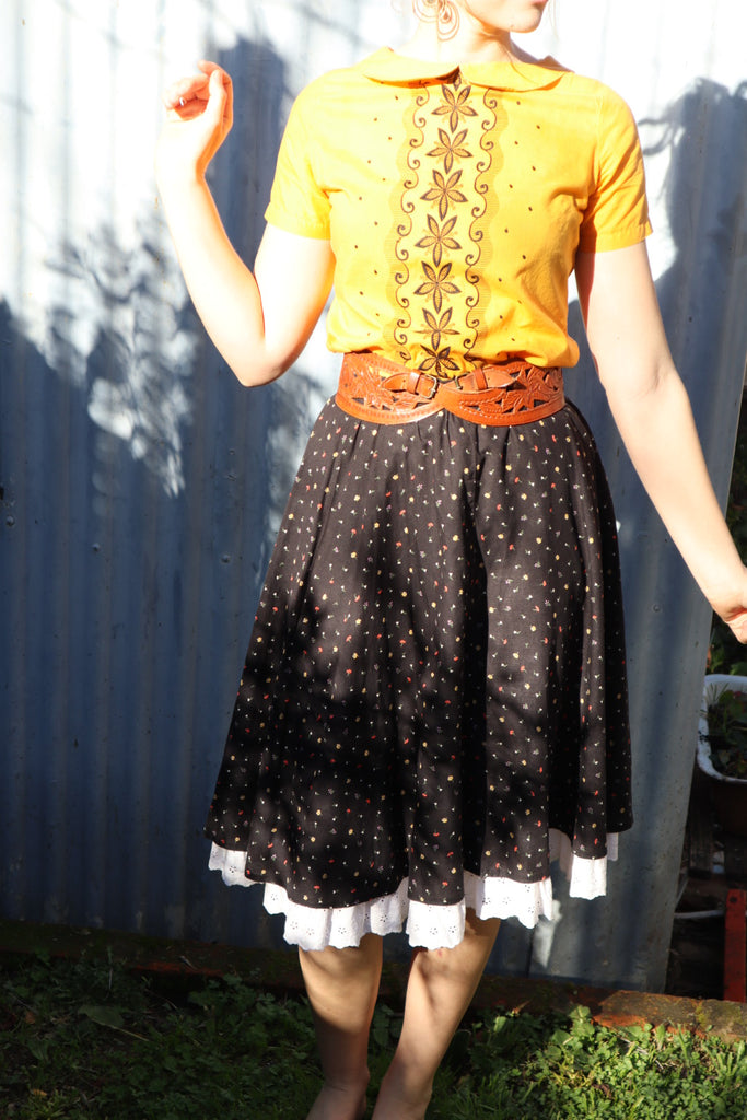 Vintage Cotton Folk Skirt