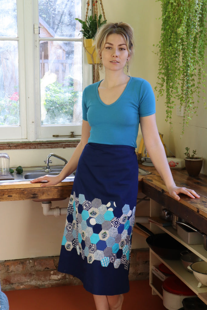 1970s Patchwork Cotton Drawstring Skirt (Free Size)