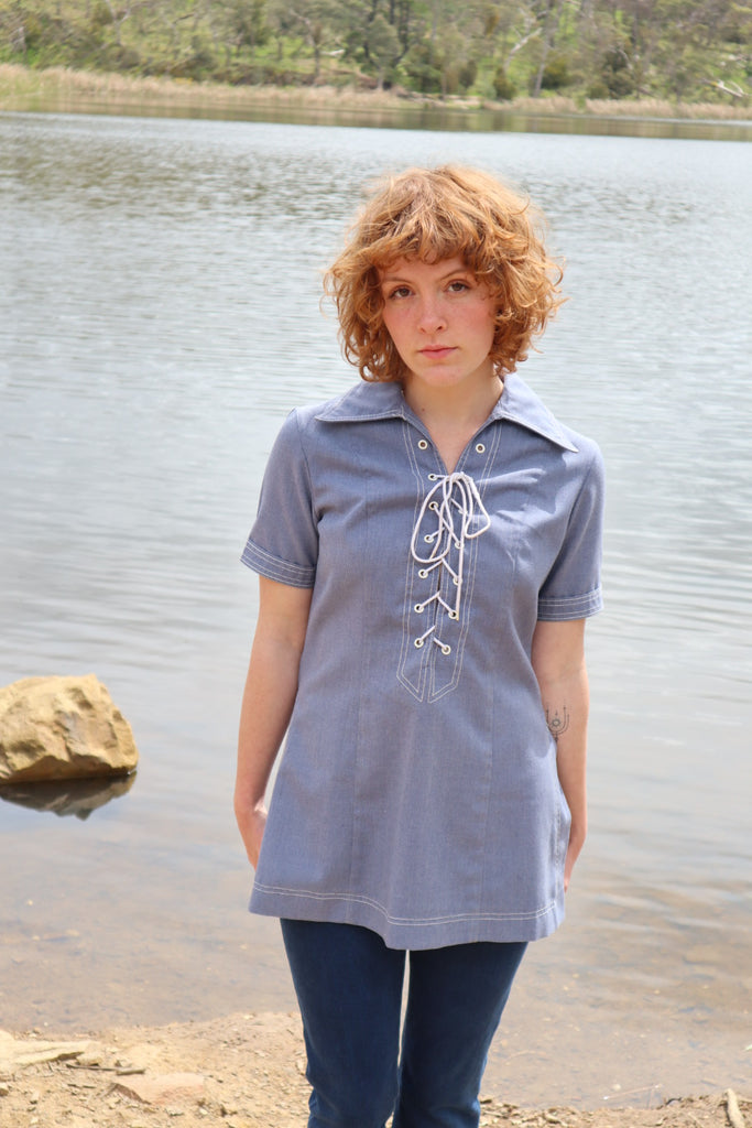 Vintage Nautical 1960s Lace Up Cotton Top