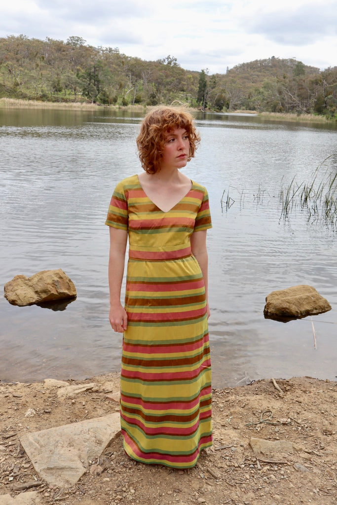Vintage 1960s Raw Silk Dress