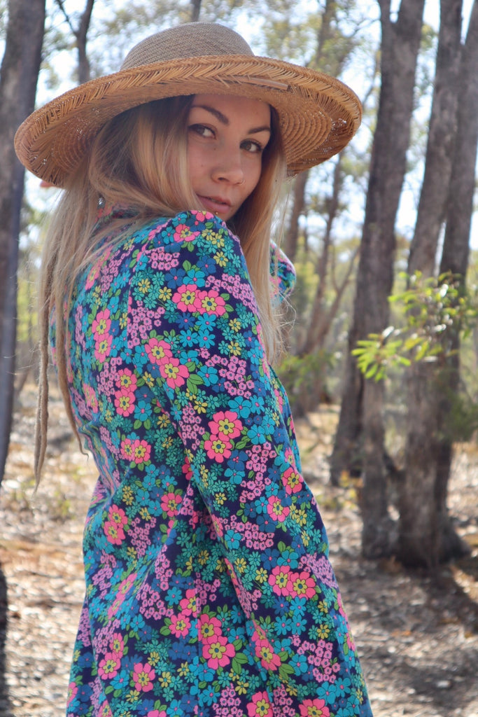 1960s Retro Floral Cotton Top/ Mini Dress (Sml/Med)