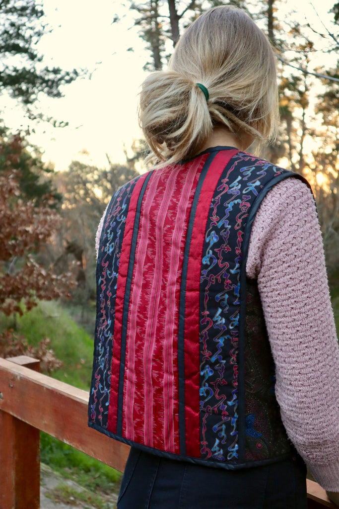 Vintage Quilted Cotton Folk Vest (Lge)