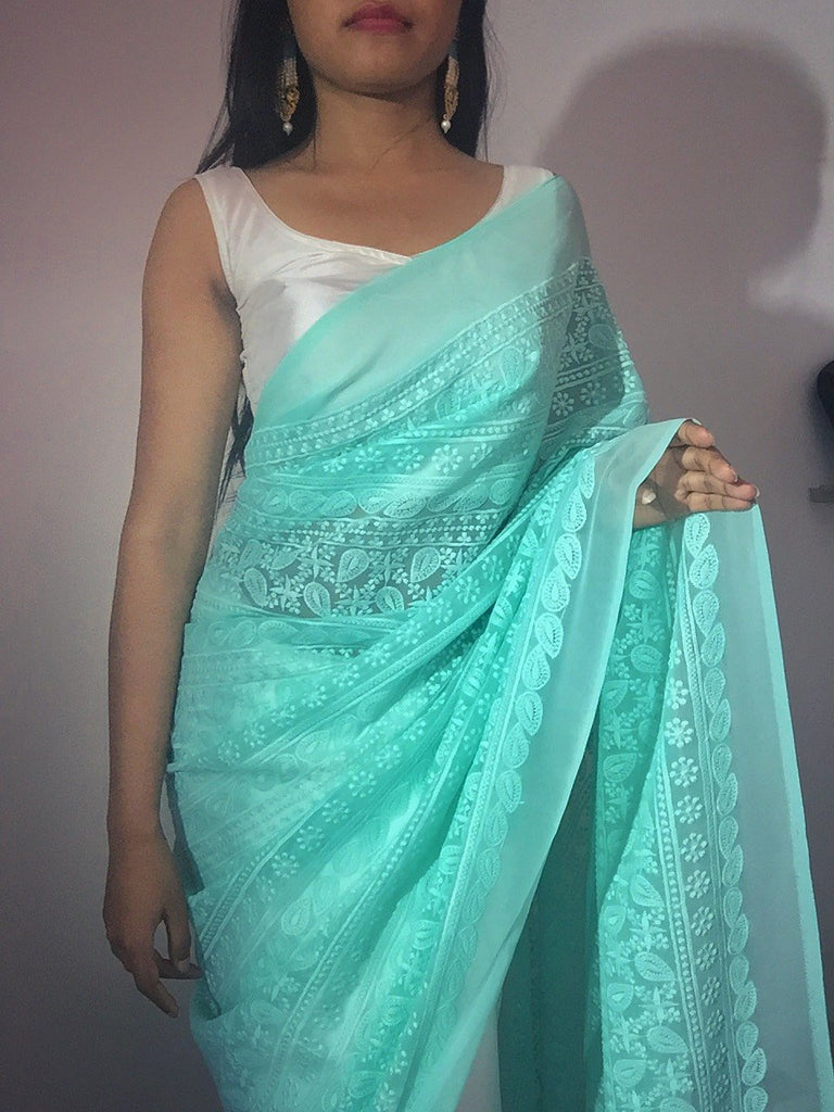 Half and Half Sea green Hakoba Embroidery with satin