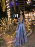 One-Shoulder Powder Blue Satin Lehenga