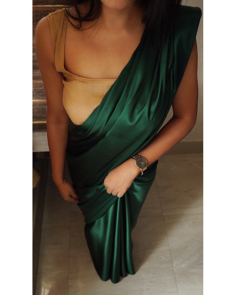 Bottle Green Satin Saree