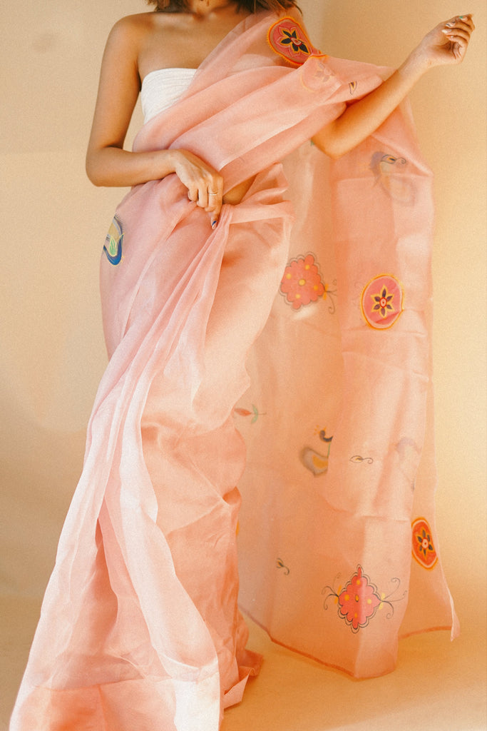 Morni Handpainted Organza Saree