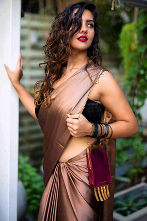 Copper Satin Saree