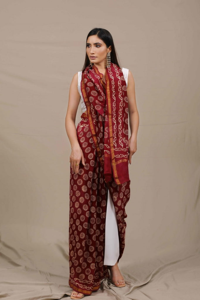 Saanjh Handblocked Chanderi Saree