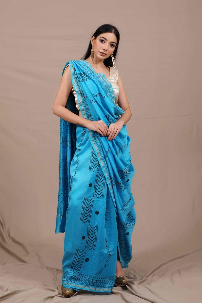 Viraha Handblocked Chanderi Saree