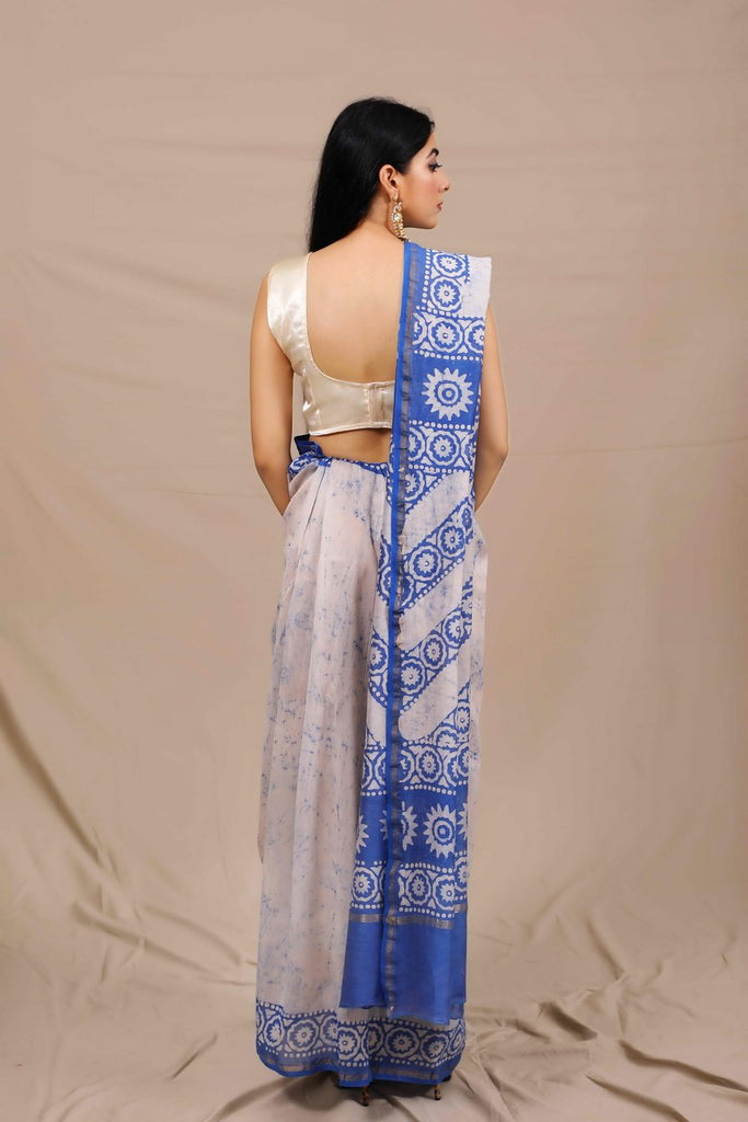 Neelam Handblocked Chanderi Saree