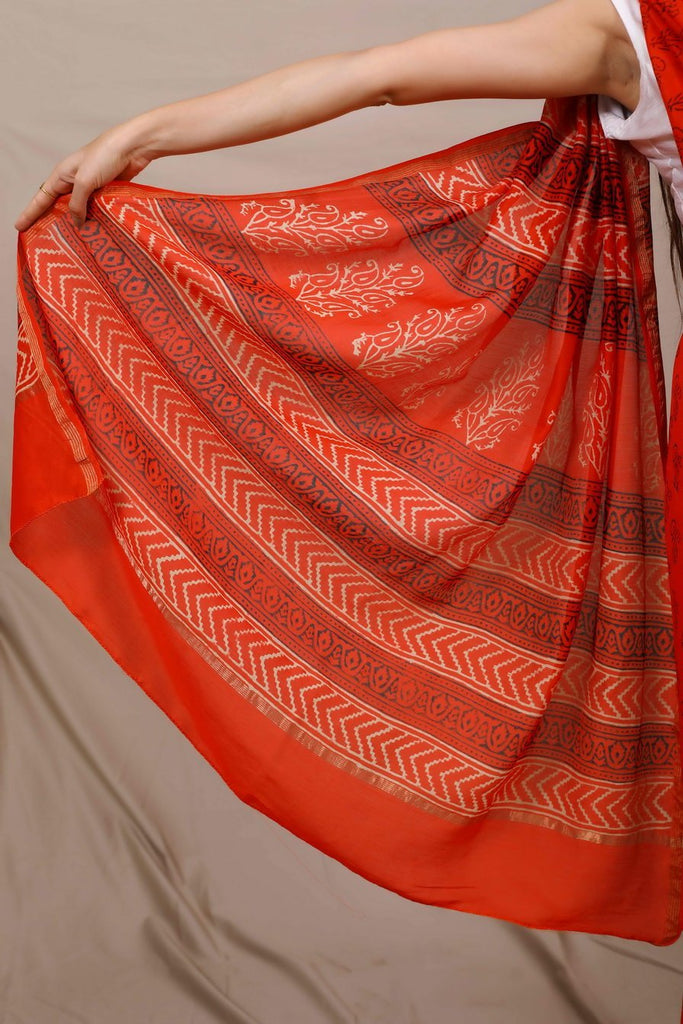 Noor Handblocked Chanderi Saree