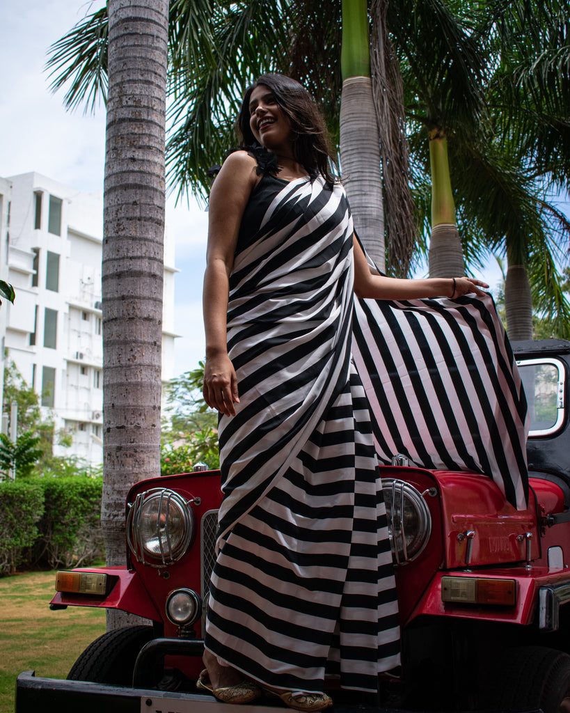 Black & White Striped Satin Saree