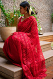 Red Half & Half Net & Satin Saree