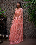 Peach Half & Half Net & Satin Saree
