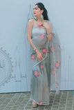 Grey Floral Organza Saree