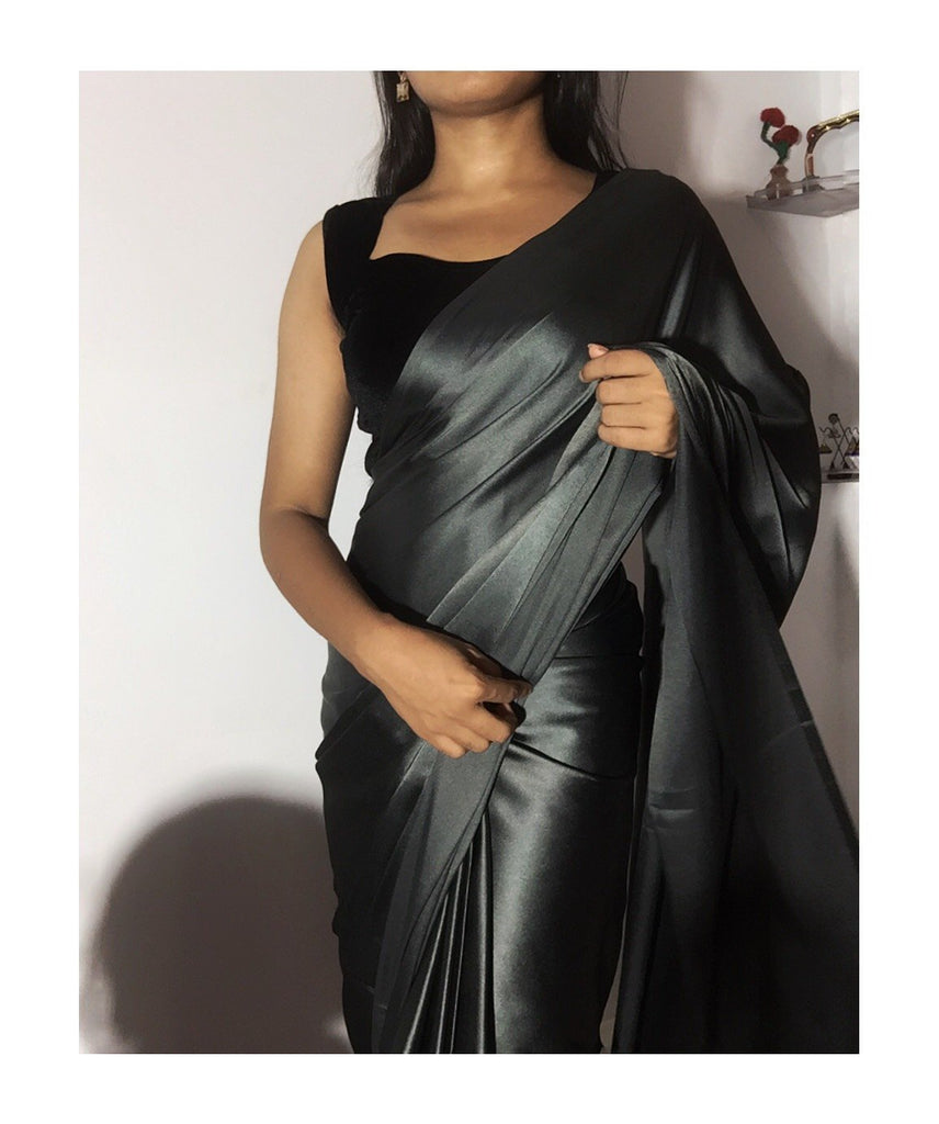 Charcoal Satin Saree