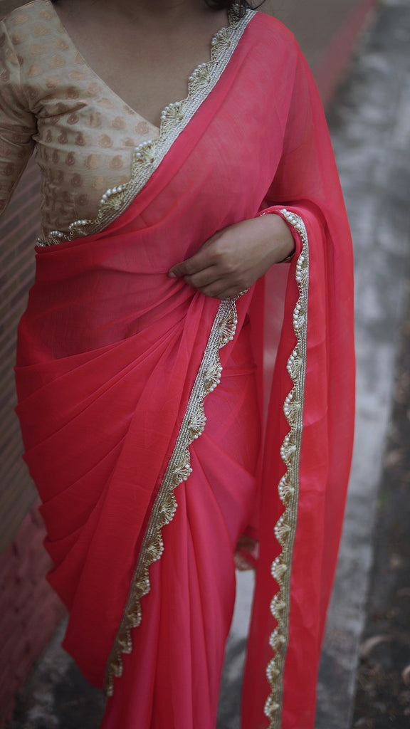 Royal Chiffon Pink Saree with pearl embellished border