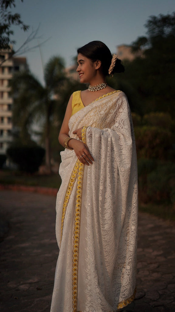 Fully Embroidered Saree With Yellow Handworked Border Saree