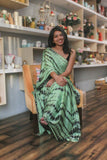 Green satin shibori saree