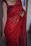 Red Sequined Net & Satin Saree