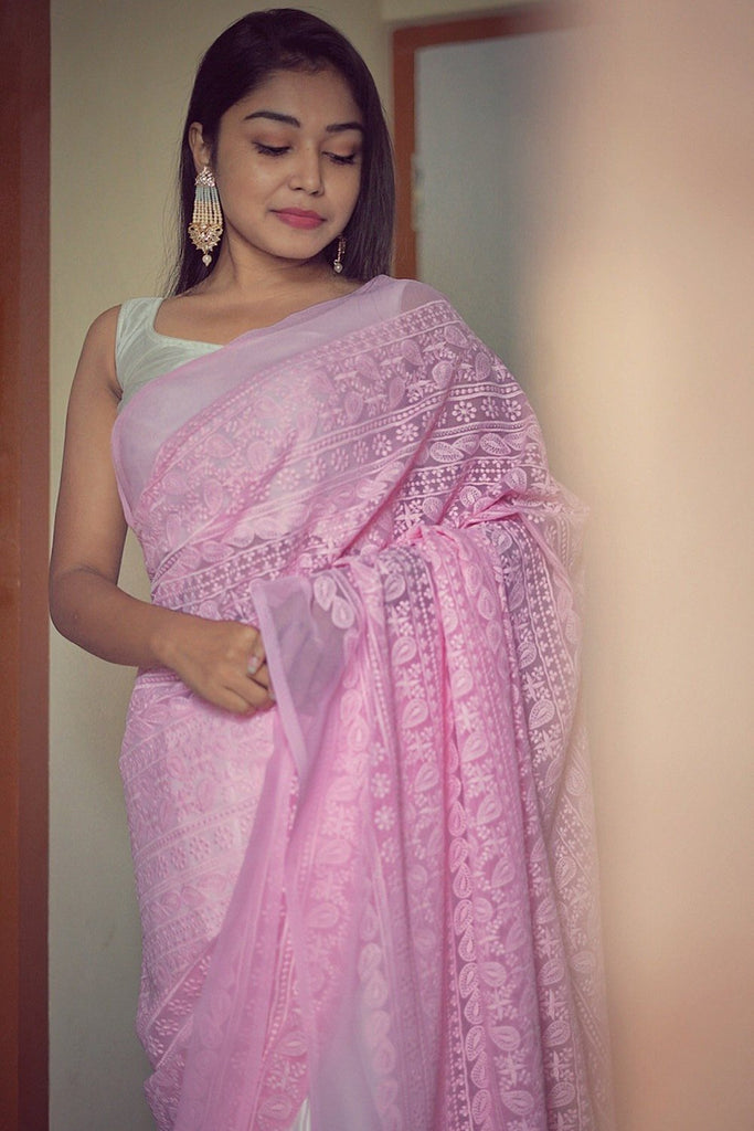 White & Baby Pink Georgette With Satin Saree
