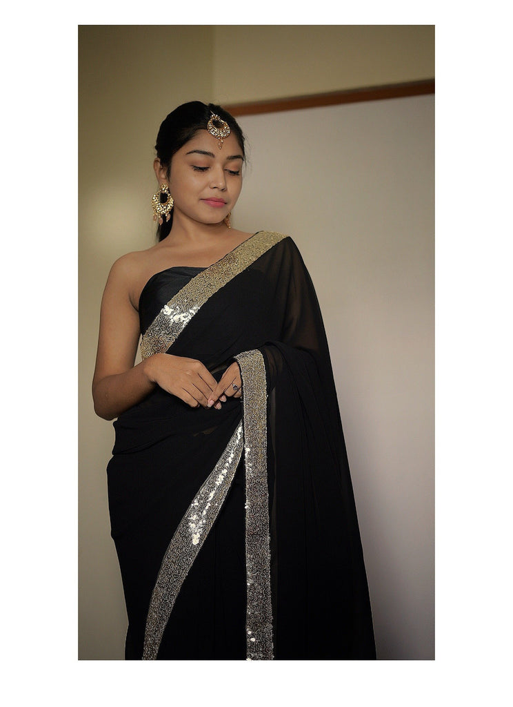 Sequins Embroidered black Georgette Saree