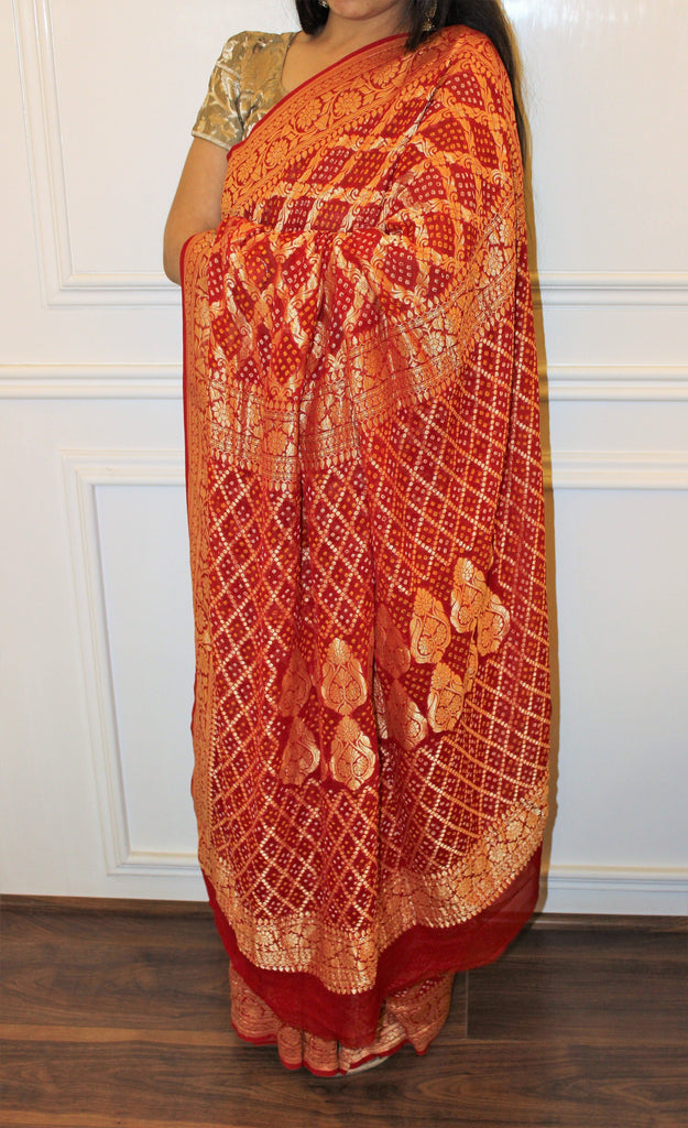 Red Bandhani Saree With Banarasi Weaving Patterns