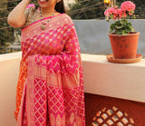 Two-Toned Pink & Orange Bandhani with Banarasi Weaving Patterns