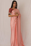 Peach Satin Saree