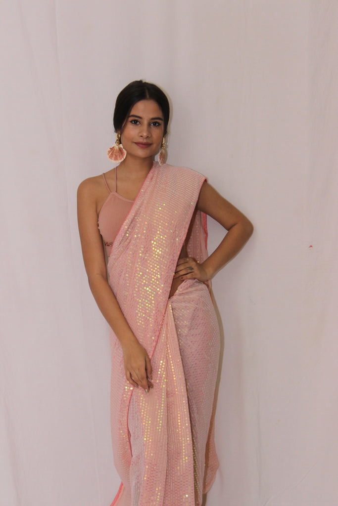 Sequined Pastel Pink Festive Saree