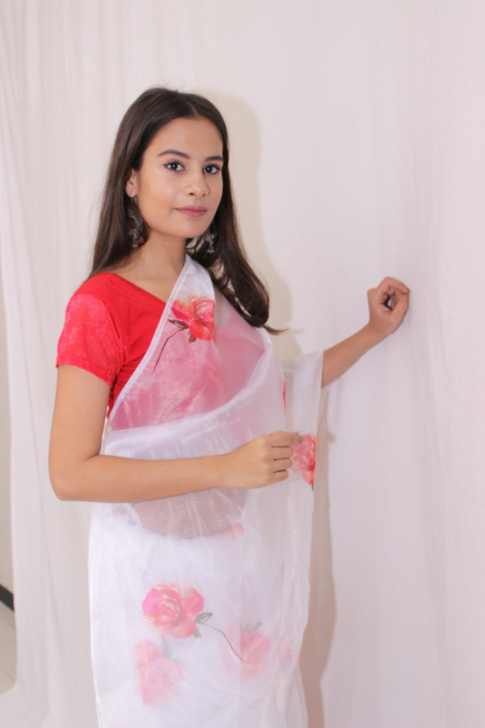 White & Red Floral Organza Saree