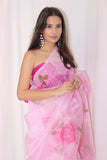 Pink Organza With Pink Florals Saree