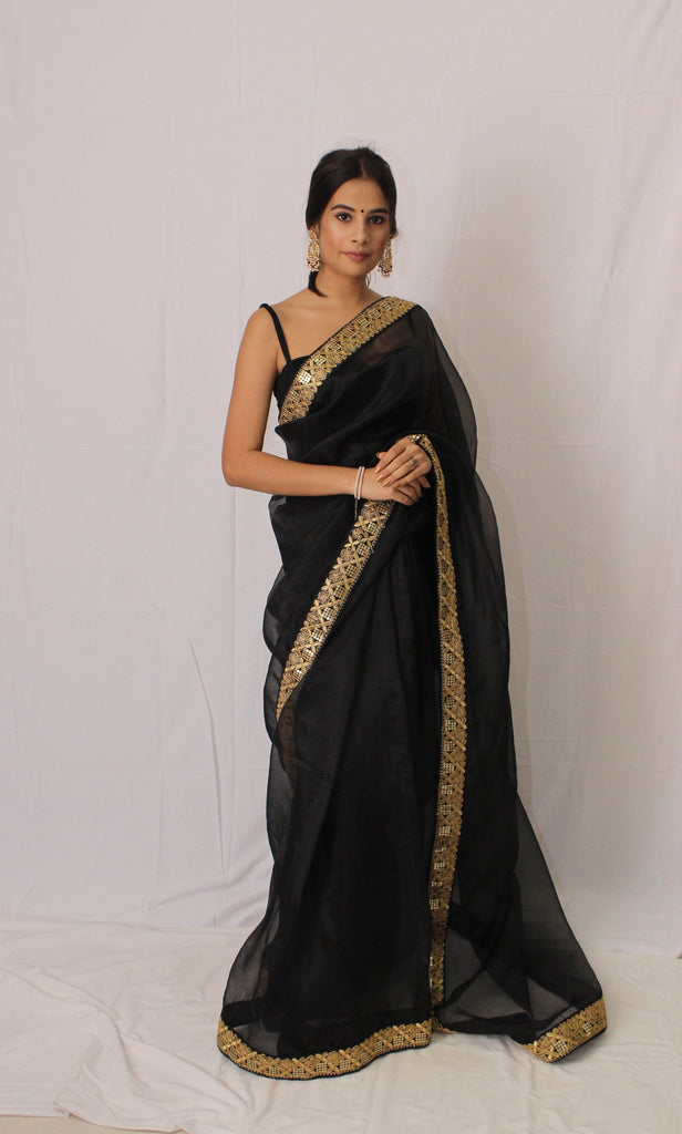 Black organza with handworked border saree