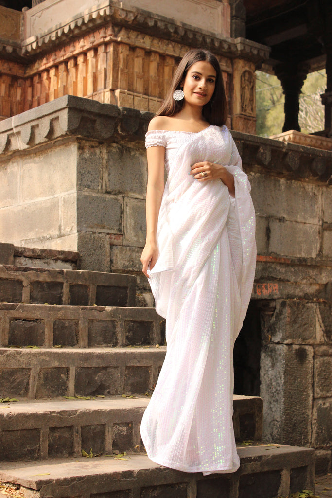 Sequined White Saree