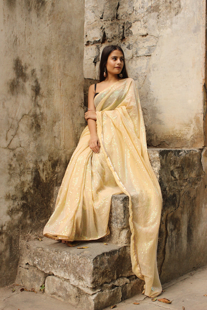 Sequined Pastel Yellow Saree