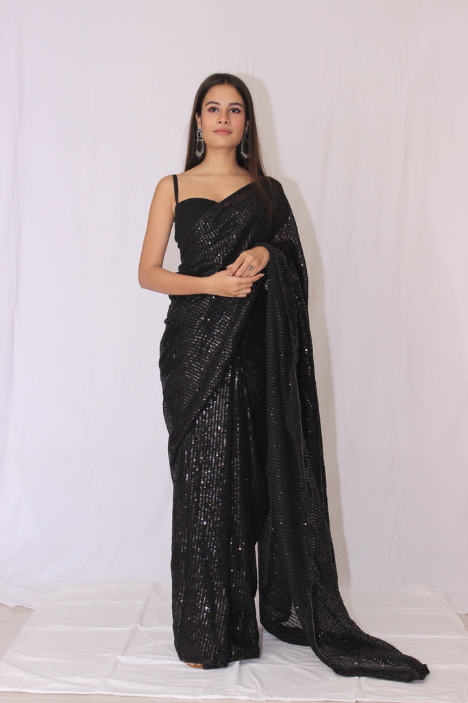 Sequined Black Saree