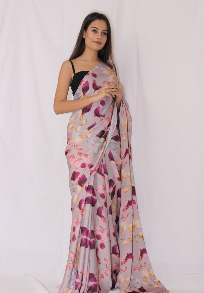 Dusty Rose Floral Butter Satin Saree