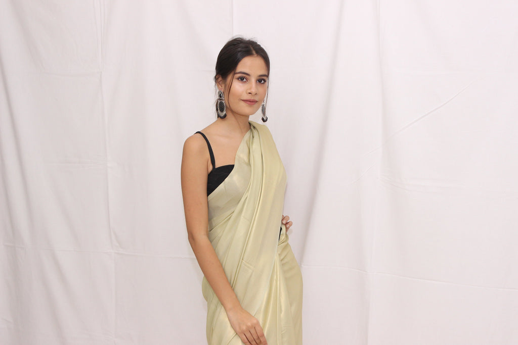 Shimmer Olive Satin Saree