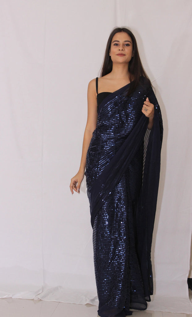 Sequined Navy Blue Saree