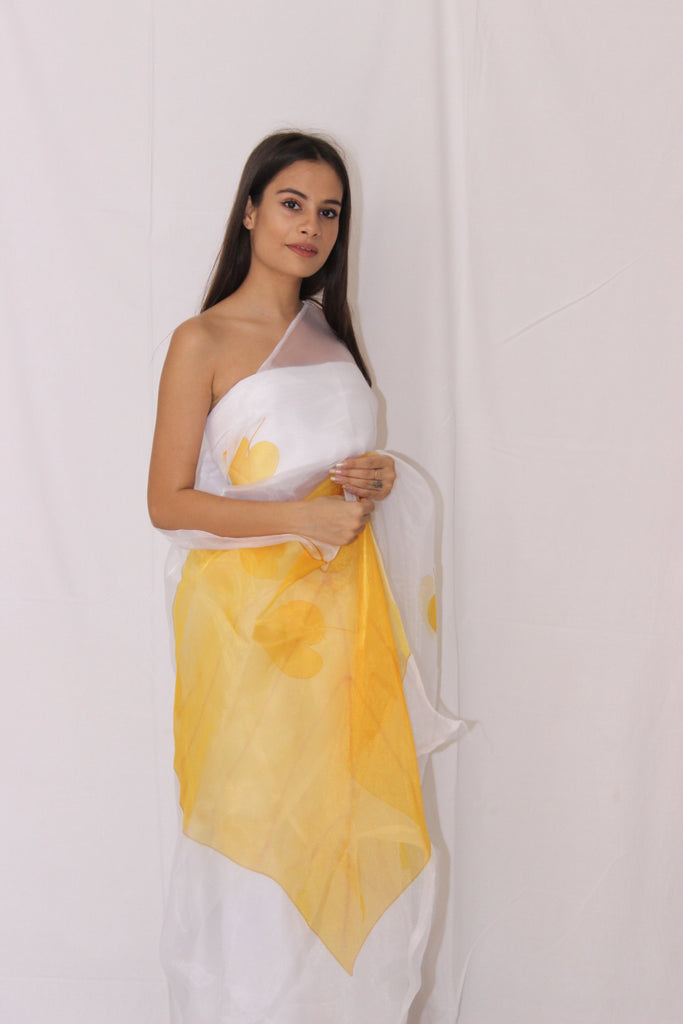 White Organza With Yellow Florals Saree