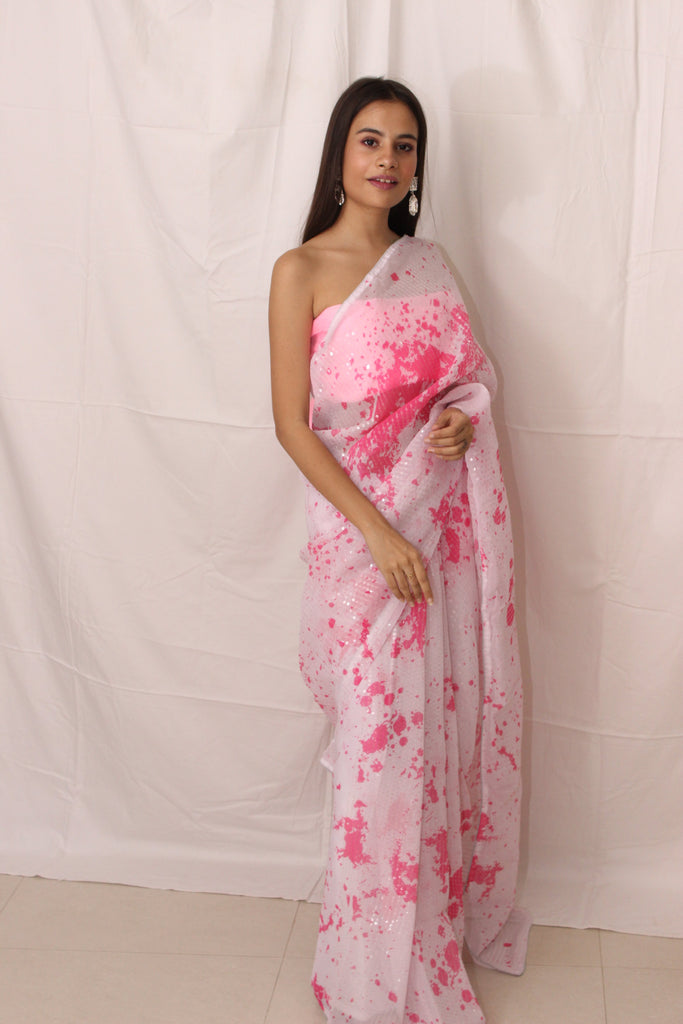 Pink & White Splatter Sequin Saree